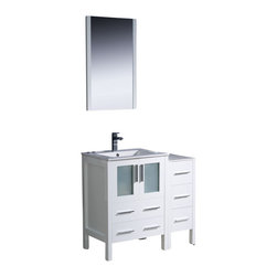 "Fresca - Fresca Torino 36"" Modern Bathroom Vanity w/ One Side Cabinet & Integrated Sink - - Fresca is pleased to usher in a new age of customization with the introduction of its Torino line. The frosted glass panels of the doors balance out the sleek and modern lines of Torino, making it fit perfectly in either Town or Country dcor."