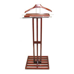 Proman Products - Proman Products Kyoto Valet in Mahogany - Kyoto valet, solid wood in mahogany color, satin nickel hardware.