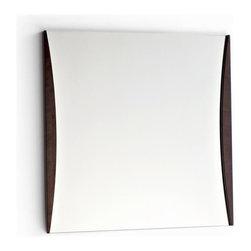 Calligaris - Mardi' Square Wall Mirror w Wood Sides (Wenge - Finish: Wenge FinishPictured in Wenge. Square wall mirror suitable for living areas or halls. Two curved wooden vertical side sections. Ideal for use with wooden furniture - for example, hung over a hall table. Assembly required. 27.375 in. W x 27.375 in. H
