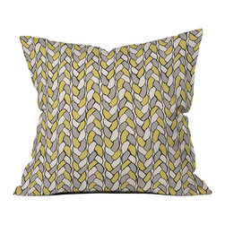 DENY Designs - DENY Designs Bianca Green Braids Mustard Throw Pillow - Cut the Mustard. Give your home some pop with the Bianca Green Braids Mustard Throw Pillow from DENY Designs. Made from woven polyester, this throw pillow features a hip, eclectic-cool design with a graphic braid motif in mustard yellow, gray, and white. Toss it onto your bed to pattern things up, or mix it into your living area for a punch of modern color.Artist: Bianca GreenA portion of proceeds goes directly to the artistsConcealed zipper with bun insertMade in the USA