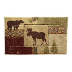 Bacova - Bacova Mountain Lodge Bath Rug - 50505Y - Shop for Mats and Rugs from Hayneedle.com! Your rustic lodge or nature-themed bathroom has met its match in the Bacova Mountain Lodge Bath Rug a beautifully colored bath rug made from 100% machine washable nylon. This rustic Up North print features an earth tone palette of beige green and brown with bands of brightly colored symbols dividing scenes of moose bear pine cones and trees.About Bacova The Bacova Guild has become one of the largest producers of printed accent rugs floor mats and bathroom ensembles offering more than 30 distinct product lines with around 3 000 unique items. Located in Covington Virginia Bacova is a wholly owned subsidiary of Ronile Incorporated. They continue to serve a diverse customer base by setting the standard with fresh and innovative fashions exhibited in their annual offerings of hundreds of new designs. With their reach stretching well beyond the borders of the United States Bacova has a worldly outlook to meet the needs of an ever-changing marketplace. In spite of their rapid growth over the last decade Bacova remains committed to a standard of style and quality that can't be matched.