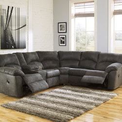 Signature Design by Ashley - Signature Design by Ashley Tambo Pewter Left and Right Reclining Sectional Sofa - Add rich luxury and contemporary style to your living space with this gorgeous and lush sectional sofa from Ashley Furniture.