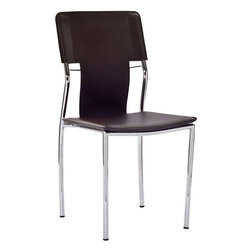 Modway - Studio Dining Side Chair in Brown - Uplift yourself with resolute strides of perfection in this recreational dining chair. With a clean vinyl seat and back and polished chrome steel tube legs, compliment your room with this strident work of untold proportions.