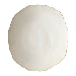 Jars - Plume White Pearl Dinner Plate - The signature scalloped edge, hand cut for an irregular and organic look, were inspired by waves and clouds. Combining French savoir-faire and natural organic inspiration, the Plume collection will add a touch of nature to your table.