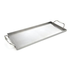 Stainless Steel Plank Saver - Sleek and simple, this stainless-steel tray with angled, sure-grip handles fits our reusable wood grilling planks, making it a breeze to take them on and off the grill, even when wearing mitts.