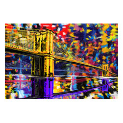 """Maxwell Dickson - Maxwell Dickson """"Brooklyn Bridge"""" New York City Canvas Art Print Artwork - We use museum grade archival canvas and ink that is resistant to fading and scratches. All artwork is designed and manufactured at our studio in Downtown, Los Angeles and comes stretched on 1.5 inch stretcher bars. Archival quality canvas print will last over 150 years without fading. Canvas reproduction comes in different sizes. Gallery-wrapped style: the entire print is wrapped around 1.5 inch thick wooden frame. We use the highest quality pine wood available."""
