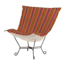 Howard Elliott - Baja Scroll Puff Chair - Titanium Frame - Taking it to the Backyard! Now you can take your favorite chair outside with you. The Baja Patio Puff Chair has been designed to withstand the elements with Its special fabric cover and foam insert. The fun, bright color selection of the Baja Patio Puff Chair will fill your yard with the colors of summer.