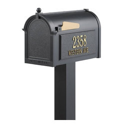 Home Decorators Collection - Premium Personalized Mailbox Package - Personalize our attractive Premium Personalized Mailbox Package with your house number and street name. 20% larger than most premium mailboxes, it's big enough to hold multiple days' worth of mail or packages and will help keep your magazines crease-free. This mailbox is independently tested for function and durability. Die cast rust-free aluminum with weather-resistant powder coat finish. All hardware included. Assembly required.
