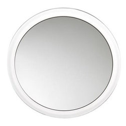 Magnifying Mirror with Suction Cups - Get up-close and personal. Mirror magnifies up to 5X and attaches easily to bathroom mirror, shower door, countertop. Makes a great traveling companion.