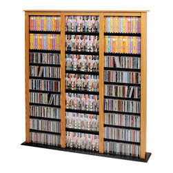 None - Triple-width Oak Media Tower - Don't put your impressive collection behind closed doors when you can showcase it with this large oak media tower. It features a 63.75' tall x 54' wide x 9.5' deep triple-width construction with adjustable shelves to fit your movies or your music.