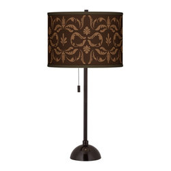 """Giclee Glow - Traditional Mocha Flourish Linen Giclee Glow Bronze Club Table Lamp - Add style to your favorite room with this club style table lamp. The lamp comes in a tiger bronze finish and has a slim profile perfect for seating areas bedrooms and more. Up top a beautiful Mocha Flourish Linen pattern is printed onto a sleek drum shade. An on-off pull chain hangs below the shade within easy reach. U.S. Patent # 7347593. Club style table lamp. Mocha Flourish Linen pattern printed drum shade. Tiger bronze finish. Maximum 100 watt or equivalent bulb (not included). On/off pull chain. 28"""" high. Shade is 13 1/2"""" across the top and bottom 10"""" high.   Club style table lamp.  Mocha Flourish Linen pattern printed drum shade.  Tiger bronze finish.  Maximum 100 watt or equivalent bulb (not included).  On/off pull chain.  28"""" high.  Shade is 13 1/2"""" across the top and bottom 10"""" high."""