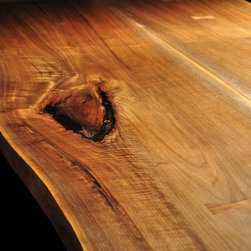 Book-matched Walnut Slab Table with OC Pedestal Base - Book-matched Walnut Tall Tree Table with OC Base