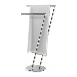 Better Living Products - SETTE Double Towel Stand - The SETTE Double Towel Stand keeps your favorite towels close-by and neatly in place, while enhancing your décor with its attractive chrome finish. Constructed of durable chrome plated steel, this unique towel stand is rust-proof and can be easily assembled within minutes. The arms can be adjusted to create a design that best suits your taste. The SETTE Double Towel Stand is a perfect solution for organizing and drying towels, conveniently by your bath or shower.