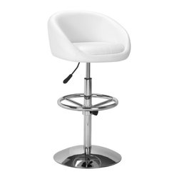 Zuo Modern - Zuo Concerto Barstool in White - Barstool in White belongs to Concerto Collection by Zuo Modern Comfortable as it is glamorous, the Concerto has a leatherette seat, a hydraulic piston, adjustable footrest, and a chrome plated steel base. Barstool (1)