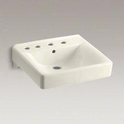 """KOHLER - KOHLER Soho(R) 20"""" x 18"""" wall-mount/concealed arm carrier bathroom sink with 8"""" - When your lavatory needs to handle high-volume traffic, premium KOHLER materials are more important than ever. Crafted of vitreous china, your Soho wall-mount lavatory will provide a lifetime of beauty thanks to our exclusive KOHLER glaze. This remarkably hard, glossy finish protects the surface for a clean, sanitary sink that maintains its polished shine through years of busy use. This model also features drillings for a concealed arm carrier, a left-hand soap dispenser and a faucet with 8"""" centers."""