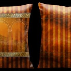 Lama Kasso - Como Gardens Antique Orange and Gold Stripes with Italian Architecture 18 x 18 M - -Microsuede Lama Kasso - 82S