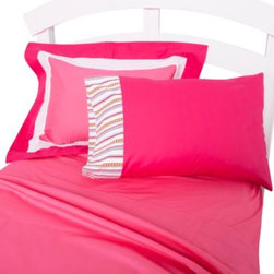 One Grace Place - One Grace Place Sophia Lolita Twin Sheet Set - The sheet set includes one flat and one fitted sheet and two standard pillowcases in a popping pink fabric with a lined trim. 100% cotton.
