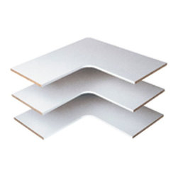 WINDQUEST CO - RS3003 EASY TRACK CORNER SHELF - 3-PK. CORNER SHELF KIT  Makes the best use of corner space  Available in white & cherry laminate finish  Shelves can be fixed or adjustable  Corner brackets included            RS3003 EASY TRACK CORNER SHELF    FINISH:White