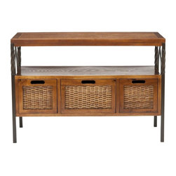 Safavieh Furniture - Console Table - Three sturdy wood framed drawers. Shelf for great storage and display. Made from wood, natural iron and wicker. Antique pewter and dark walnut finish. Light assembly required. 36 in. W x 14 in. D x 25 in. H (17 lbs.).