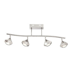 """ProTrack - Contemporary Pro Track® Avion Brushed Nickel 4-Light LED Track Fixture - Add bright directional illumination to your home with this ceiling track fixture. Finished in a smooth brushed nickel and made of metal this lighting fixture features four bright lights with a diamond shape. An LED design offers plenty of energy efficient savings.  Brushed nickel finish. Metal construction. Diamond design. Dimmable. Includes four 5 watt LEDs. 2700K color temperature. Light output is 80 lumens. Comparable to a 15 watt incandescent bulb. UL listed for damp locations. 37 1/2"""" wide. 12 1/2"""" high. 5 1/2"""" deep. Lights are 4 1/2"""" wide 3 1/2"""" high. Canopy is 8"""" wide 4 3/4"""" high.  Brushed nickel finish.  Diamond design.  Metal construction.  Not dimmable.  Includes four 5 watt LEDs.  2700K color temperature.   Light output is 80 lumens.  Comparable to a 35 watt incandescent bulb.  UL listed for damp locations.  37 1/2"""" wide.  12 1/2"""" high.  5 1/2"""" deep.  Lights are 4 1/2"""" wide 3 1/2"""" high.  Canopy is 8"""" wide 4 3/4"""" high."""