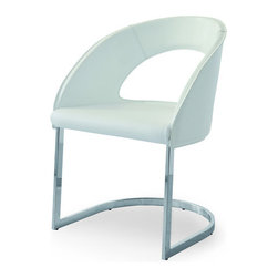 Airnova - Skyline Armchair, White Leather - Stylish armchair with chrome base by Airnova. White eco leather seat. White leather back. Designed and made in Italy.