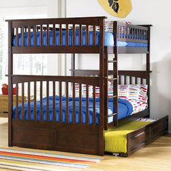 Antique Walnut Columbia Full over Full Bunk Bed with Raised Panel Trundle Bed - - A comfortable night sleep is what your child will get for years with this Antique Walnut Columbia Full over Full Bunk Bed with Raised Panel Trundle Bed - Atlantic Furniture in his bedroom. It comes with the Columbia Full Over Full Bunk Bed with Raised Panel Trundle Bed in an Antique Walnut finish. This bed will also give your child extra space for hosting fun sleepovers or having siblings spend the night. If two children share a room even better. The third bed below can also be pulled out whenever a cousin comes to town.