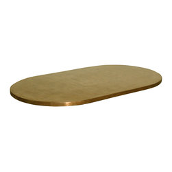 GILANI - Copper Table Top (Racetrack) - Copper Table Top (Racetrack). Also available, round and rectangular shapes in various sizes. Material: Heavy gauge copper sheet stretched on heavy-duty steel frame. Finish: Distressed and antiqued. Custom sizing available. Designed by Shah Gilani, ASFD.