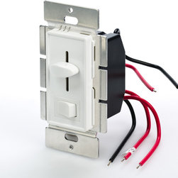 SLVDx-60W-3W LED 3-Way Switch and Dimmer for Standard Wall Switch Box - 3-Way LED switch and dimmer combo designed to fit in standard wall switch boxes. Universal single color LED dimmer that can dim any 12VDC or 24VDC LED products from 0%-100% using Pulse Width Modulation (PWM) slide control. 60W maximum load capacity. 4.5in wire leads for input and output connection. Dimming level is adjusted by built-in slider control. Available in white and almond housing. Optional wall trim plate also available