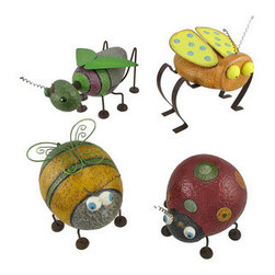 Set of 4 Ceramic Garden Bugs Outdoor Decor - This set of ceramic bugs is a welcome addition to gardens or flower beds. The set includes a bee that measures 6 1/2 inches tall, 5 1/2 inches wide, 7 1/4 inches long; a grasshopper measuring 4 1/4 inches tall, 6 1/4 inches wide, 8 3/4 inches long; a ladybug that is 6 inches tall, 6 1/4 inches wide, 6 1/2 inches long; and the fourth bug is 6 inches tall, 7 1/4 inches wide, 6 1/2 inches long. Each piece has a ceramic body, accented by metal antennae, legs, and wings. They are hand painted for a whimsical effect, adding a bit of color to your landscaping. They are sure to be admired, and make a great gift for a friend.