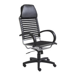 Euro Style - High Back Executive Office Chair - Includes hardware, assembly parts and instructions. Set of eleven flat bungee cords on back. Set of nine regular bungee cords on seat. Tilt, swivel, gas lift and nylon casters. Soft leather headrest. Comfortable polyurethane padded armrests. Locks in upright and back position. Aluminum epoxy coated nylon base. Warranty: One year. Black/Aluminum Finish. Made in Taiwan. Adjustable seat height: 17 in. - 21 in.. Base: 27 in. Dia.. Overall: 26 in. W x 25.5 in. D x 52 in. H. Assembly Instructions