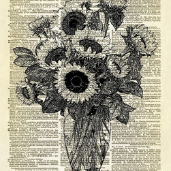 Altered Artichoke - Vase Of Sunflowers Dictionary Art Print, Black - This is our exclusive artwork featuring a vase of sunflowers. Very pretty!