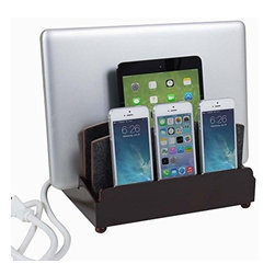 """Great Useful Stuff - Ultra Charging Station - Zen, Rustic Modern, Without 6-Outlet Power Strip - Haven't you always dreamt of a place where you can charge all of your tech devices at once and not get tangled in a nest of cords? Dream no more! The new GUS Ultra Charging Station is the perfect answer to your wishes. This Multi Charging Station has enough space to charge three phones, a tablet, and a laptop while keeping all the messy cords organized! The G.U.S. Ultra Charging Station features a new back compartment to accomodate a USB powerstrip (sold separately) capable of charging up to 5 devices, or a standard 6 outlet powerstrip will do the job as well. For the multi-device household (and who isn't?) , this is an product you can't be without! This Ultra Charging Station measures (10"""" length x 8"""" width x 7.25"""" height) and the vertical slot measures 3"""" accommodating most laptops and tablets. (USB Powerstrip or standard 6 outlet Powerstrip are sold separately)."""