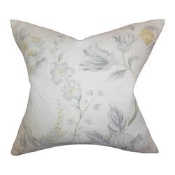 """The Pillow Collection - Ivria Floral Pillow Sterling 18"""" x 18"""" - Create a homey feel to your interiors by adding this lovely accent pillow. It's made from a fine linen material and decorated with a subtle floral pattern in shades of gray, brown, yellow and white. Spice things up by mixing it with bold-hued solids and eccentric prints for a contemporary decor look. Made of 100% durable linen material."""