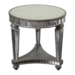 Uttermost - Sinley Mirrored Accent Table - Distressed, ebony stained wood inset with beveled, antiqued mirrors.