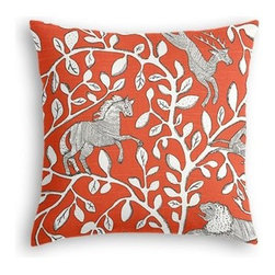 Red Modern Animal Motif Custom Throw Pillow - The every-style accent pillow: this Simple Throw Pillow works in any space.  Perfectly cut to be extra fluffy, you'll not only love admiring it from afar but snuggling up to it too! We love it in this sketched African animal and vine motif in modern rust red. Be wild and wonderful!