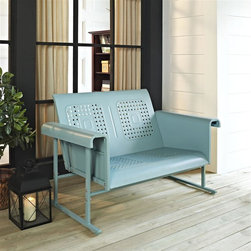 Crosley Furniture - Veranda Loveseat Glider in Caribbean Blue - Sturdy Steel Construction. Easy To Assemble. UV Resistant. Smooth glide rocking mechanism. Indoor/Outdoor Construction. . 31 in. W x 52 in. D x 33 in. H (84 lbs.)