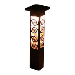 "Attraction Lights - Path Light- Decorative Steel -Swirl Design, 24"" - -Solid, 1/8"" high grade steel construction"
