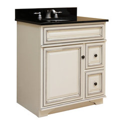 """Sunny Wood - Sunny Wood SL3021D Glazed White Sanibel 30"""" Maple Wood Vanity Cabinet - 30"""" Maple Wood Vanity Cabinet from the Sanibel Collection Discover the fresh and casual nature of the Sanibel Vanity Collection from Sunny Wood Products. Each piece is crafted in the tradition of fine home furnishings and finished with a multi-step, hand-detailed painted finish.  Finally, a contrasting glaze is applied that brings out the unique cabinet and molding details.  Featuring inset doors and drawers, ample storage options, and practical functionality allows the Sanibel Vanity Collection to highlight your bath s interior and fulfills your own personal style needs. Confirm your good taste by choosing the Sanibel Vanity Collection from Sunny Wood Products.    Product Details:  Dimensions: 30""""W x 21""""D x 34""""H Constructed of Maple hardwoods and veneers 1 Door, 2 Drawer Design Raised panel doors and drawers Decorative tapered foot detail Durable painted finish with accent glaze Shaped door and drawer frames Ample interior storage Brass decorative hardware Crated and shipped assembled Sanibel vanities: 24"""" (SL2421D), 30"""" (this model), 36"""" (SL3621D), 48"""" (SL4821D) Note: Additional image is that of the SL3621D, but still provides reference for design characteristics and finish."""