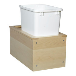 "Century Components - Century Components 35 Qt Single Soft Close Pull Out Waste Bin - Maple, 11-7/8"" - 35 Qt White Single Blum Bottom Mount Kitchen Pull Out Waste Bin Container - 11-7/8""W x 19""H x 21""D. This unit is designed to be inserted into a new or existing cabinet with an opening width of 12""-15"", and features (1) 35 Quart waste bin container. Century Components SIGBM11PF is made from Solid Wood Maple with Dovetail Construction with a clear natural finish for great appearance, quality and durability."