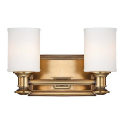 """Minka Lavery - Traditional Harbour Point 11 1/4"""" Wide 2-Light Liberty Gold Wall Sconce - The Harbour Point collection of Minka Lavery lighting has an elegant and refined style. This traditional wall sconce is simple yet balanced with a rectangular backplate and two etched opal glass cylinders. It comes in a brilliant Liberty gold finish for a stylish look of luxury. Minka Lavery sconce. Liberty gold finish. Etched opal glass. Takes two maximum 100 watt bulbs (not included). 11 1/4"""" wide. 7 1/4"""" high. Extends 6"""" from the wall.  Minka Lavery sconce.  Liberty gold finish.   Etched opal glass.   Takes two maximum 100 watt bulbs (not included).  11 1/4"""" wide.  7 1/4"""" high.  Extends 6"""" from the wall."""