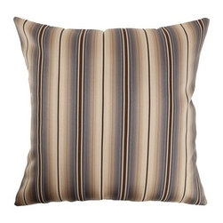 "The Pillow Collection - Bailey Stripes Pillow Blue/Brown 18"" x 18"" - This Bailey Stripes Pillow features a contemporary design, which is perfect for the office or home. This square throw pillow comes with blue, brown and flesh stripes. This decorative pillow is easy to incorporate with your furnishings. The pillow is made of 54% Cotton and 46% Polyester. Hidden zipper closure for easy cover removal.  Knife edge finish on all four sides.  Reversible pillow with the same fabric on the back side.  Spot cleaning suggested."