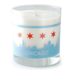 Crash - Chicago Skyline Candle Candle - Featuring the famous Chicago Skyline on both front and back - modern design and fragrance in a timeless product. Experience functional art in your home, exclusively from Crash. This candle is fragranced with Currant & Thyme.