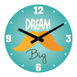 Nursery Code - WALL CLOCK For Boys Room-Dream Big -Mustache Design - Dream Big - Mustache Design Wall Clock for Nursery Room Décor