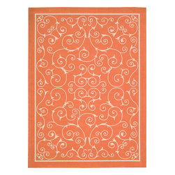Nourison - Nourison Home and Garden RS019 (Orange) 10' x 13' Rug - Add some excitement to any surrounding with these magnificent indoor/outdoor rugs. Floral, scrollwork, and animal-skin patterns in vivid color make this a truly eye-catching collection. These versatile rugs are beautiful to look at, soft to walk on, easy to clean by just hosing down and can withstand almost all outdoor conditions. Indoor or Outdoor Uses UV Protected Mildew Proof Fade Resistant Easy Clean: Just Rinse with a Hose