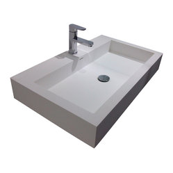 ADM - White Wall Hung Solid Surface Stone Resin Sink - This spacious, rectangular stone and resin sink is the ideal centerpiece to complete your dream bathroom. The wide basin gives you plenty of room to wash, making it as practical as it is beautiful. Wall mounted for a sleek, smooth weightless feel that's simply stunning.