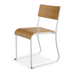 Gus Modern Church Chair Set of 2 - White - Church Chair by Gus Modern. Inspired by the functional chairs used in gathering rooms at churches, schools and public buildings. Made of bent steel tube and shaped ply, these chairs are stackable and come in Walnut or Natural Oak seat with either white or gray powder coated frame.