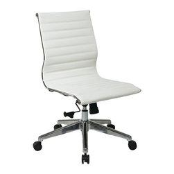 Office Star - Office Star Armless Mid Back Eco Leather Chair in White - Office Star - Office chairs - 73633 - armless Mid back White Eco leather chair with Polished Aluminum frame and base