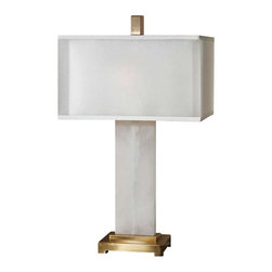 Uttermost Athanas Alabaster Lamp - White alabaster base accented with plated coffee bronze details. White alabaster base accented with plated coffee bronze details. The double shade is a sheer outer hardback with a white linen inner hardback.