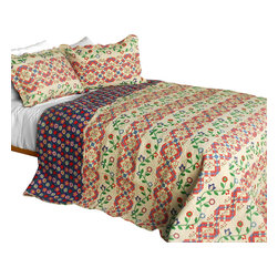 Blancho Bedding - [Glitter] 3PC Cotton Contained Vermicelli-Quilted Patchwork Quilt Set Full/Queen - Set includes a quilt and two quilted shams (one in twin set). Shell and fill are 100% cotton. For convenience, all bedding components are machine washable on cold in the gentle cycle and can be dried on low heat and will last you years. Intricate vermicelli quilting provides a rich surface texture. This vermicelli-quilted quilt set will refresh your bedroom decor instantly, create a cozy and inviting atmosphere and is sure to transform the look of your bedroom or guest room. Dimensions: Full/Queen quilt: 90 inches x 98 inches  Standard sham: 20 inches x 26 inches.