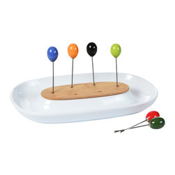 """Concepts Life - Concepts Life Appetizer Dish With Olive Forks - This appetizer dish instantly adds flare to your table. This porcelain dish with a bamboo center comes with six colorful olive forks to make snacking on appetizers that much more elegant. Can be used to serve olives, cheese, nuts, cherry tomatoes, and more...your imagination is the limit! Material: Porcelain bamboo Contemporary design Set includes dish with 6 appetizer forks Dimensions: 10"""" long x 6"""" deep"""